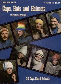Leisure Arts 131 Caps Hats Helmets Adult Child Knitting Crochet 32 Patterns 1978 #LeisureArts