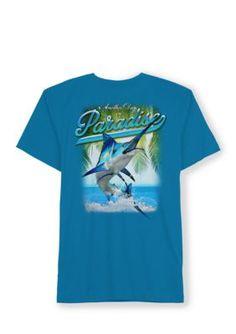 Saddlebred Men's Big And Tall Paradise Fishing Short Sleeve Tee Shirt - Sapphire Blue - 2Xlt