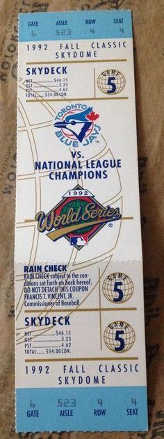 1992 World Series FALL CLASSIC Game 5 TORONTO BLUE JAYS UNUSED Full Ticket MINT