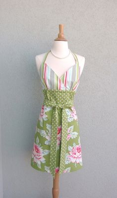 Flirty Halter Apron in Hello Roses with Stripes by bernicesdesigns, $35.00