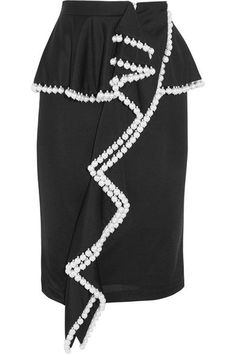 GIVENCHY Faux pearl-embellished jersey peplum skirt. #givenchy #cloth #skirts