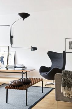Serge Mouille Wall Sconce Egg Chair by Arne Jacobsen