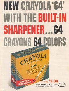 "1958 - ""New(!) Crayola 64"" Ad - I still love to color, and I was born in the late '60's!"