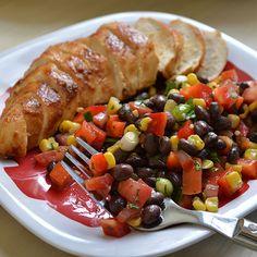 Garlic Lime Chicken with Black Bean Salad - Click through for recipe!