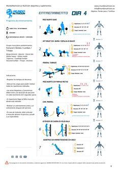 Semana de 5 días de entrenamiento ideal chicas - Mundo Nutrición. Nutrición deportiva y suplementos. Día 4 rutina de femoral, glúteo, lumbar, tríceps.