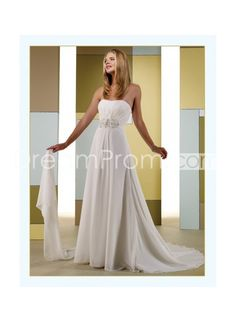 Plain Empire Chiffon Strapless Ruched Bodice   Chapel Train Hot Sell Bridal Wedding Gowns