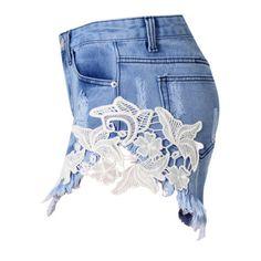 Artistic Denim shorts ($44) ❤ liked on Polyvore featuring shorts, bottoms, cotton shorts, short denim shorts, jean shorts, denim shorts and short jean shorts