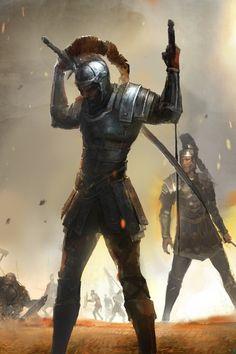 Guerreiro clássico com duas espadas longas e armadura de metal estilo romana