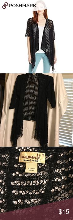 NEW LISTING ❤ One World Pointelle Fringe Cardigan Short sleeved cardigan goes perfectly with dresses and tops! ONE WORLD Sweaters Cardigans