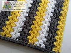Large Striped Granny Afghan - Crochet Baby Blanket - Yellowâ?¦