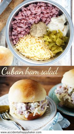 Cuban ham salad has the flavors of a Cuban sandwich ham mayo spicy brown deli mustard dill pickles and swiss cheese. Its a simple combo but it goes together so great. Kubanisches Sandwich, Roast Beef Sandwich, Soup And Sandwich, Sandwich Recipes, Ham Salad Recipes, Cuban Recipes, Pork Recipes, Cooking Recipes, Wrap Sandwiches