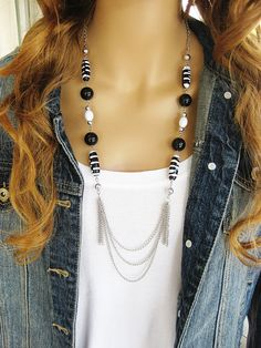 Black Beaded Necklace Long Black Necklace by RalstonOriginals
