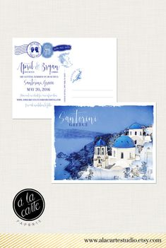 Santorini Greece Greek Island Save the Date by alacartepaperie