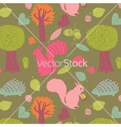 Autumn forest seamless pattern vector - by Lavandaart on VectorStock®