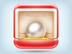 Glossy pearl icon with red finishing. Ui Design Mobile, Mobile Application Design, Design Ios, App Icon Design, Ui Design Inspiration, Flat Design, Application Development, Site Design, Wireframe