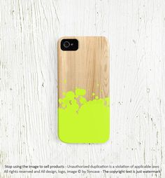 Neon iPhone 4 case, iPhone 4s case, unique iPhone 5 case, neon green, yellow, aqua, mint, hot pink - ink painting on wood Not Wood c163)