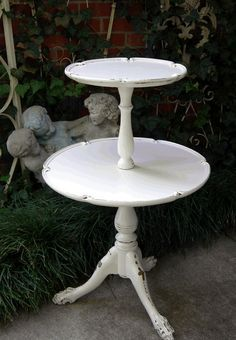 Antique SIDE TABLE 2 Tier Pie Crust Round Tops Shabby Chic French White ...