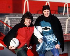Liverpool super-heroes John Toshack and Kevin Keegan pose as Batman and Robin, February 1977. Source: South London Today