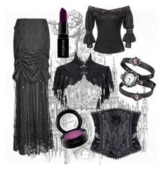"""Camarilla"" by thegothicshop ❤ liked on Polyvore featuring moda, BlackMoon, Smashbox y MAC Cosmetics"