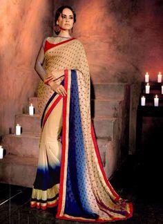 Beige Bulk Stylish Saree In Georetgette Fabric