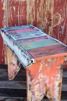 Rustic Milking Stool Bench in Coral and Teal
