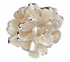 Joan Rivers Limited Edition White Pave Gardenia Pin --- leave it to JR. She designed the most beautiful brooches! Joan Rivers Jewelry, White Gardenia, Family Jewels, Gold Texture, Gifts For Mom, Handmade Jewelry, Jewelry Design, Fashion Jewelry, Qvc