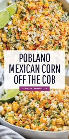 A different take on the original Mexican street corn off the cob. This poblano M… A different take on the original Mexican street corn off the cob. This poblano Mexican street corn off the cob is extra creamy, smoky, and flavorful! Corn Dishes, Veggie Dishes, Corn Salad Recipes, Vegetable Recipes, Easy Corn Recipes, Vegetable Salad, Potato Recipes, Pasta Recipes, Soup Recipes