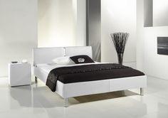 LAOLA białe łóżko tapicerowane ekoskóra