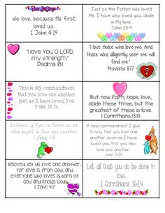 I wanted to be able to give my students a valentine that would be meaningful. I also try to take every opportunity to have them read the Bible. So I created these printable Bible Verse Valentine ca… Bible Verses For Kids, Verses For Cards, Printable Bible Verses, Children's Bible, Valentines Bible Verse, Valentine Crafts, Printable Valentine, Free Printable, Printable Crafts
