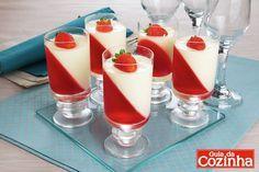 Aprenda a fazer um doce de copinho com metade gelatina de morango e a outra um creme de leite condensado e iogurte. Fica lindo e delicioso!