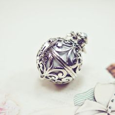 Sterling Silver Harmony Ball, Angel Caller, Bola Necklace, Baby Shower Gift, Pregnancy Pendant,Baby Chime Ball, Mother's day gift, Agate