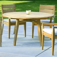 """Kingsley Bate: Algarve 52"""" or 60"""" Dining Table and 4 armchairs."""