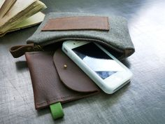 wool pouch with waxed leather strap. $39,00, via Etsy.