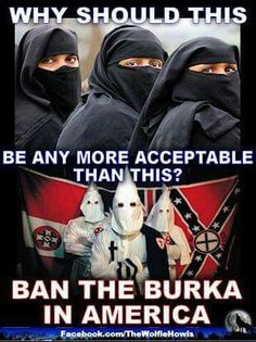I personally think BOTH should be banned. Its a simple matter of National Security. How many dangerous fugitives could be walking around this country right now hiding behind burkas. Islam, Sharia Law, By Any Means Necessary, Our Country, God Bless America, Way Of Life, Truth Hurts, We The People, Real People