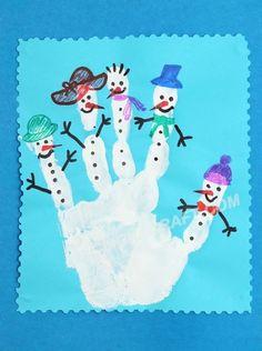 Handprint Snowmen Craft - Handmade Ornament Ideas for pillows diy handmade christmas Christmas Crafts For Kids, Christmas Activities, Christmas Projects, Winter Christmas, Kids Christmas, Handmade Christmas, Holiday Crafts, Holiday Fun, Christmas Ornaments