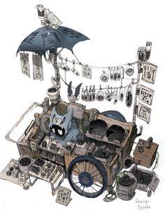 Art by 出水ぽすか Demizu Posuka Bg Design, Prop Design, Illustrations, Illustration Art, Arte Robot, Environment Concept Art, Character Design Inspiration, Aesthetic Art, Game Art