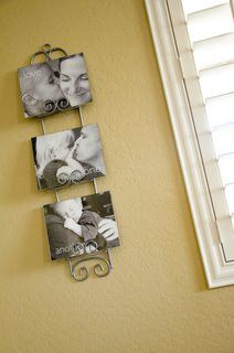 Great way to use my plate holder!  Display picture frames that are currently sitting on end tables, etc!