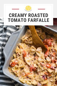This creamy tomato sauce for bow tie pasta is made by throwing a few ingredients in the oven for a quick yet gourmet meal! Easy pasta | baked pasta | noodle casserole | creamy pasta | easy pasta sauce | baked tomato pasta | farfalle | bow tie pasta | easy dinner |
