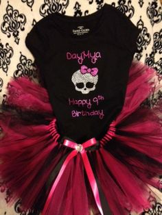 Size girls 416 rhinestone monster high look tutu and matching personalized shirt by audrinascloset, $44.00    Check us out for customized tutus and hand made rhinestoned shirts. All sizes available.