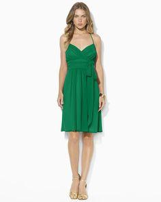 """Ralph Lauren """"Georgette"""" green halter dress."""