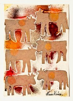 HANS KRUSI (1920-1995) | He made his first drawings using a felt-tipped pen on napkins, but later resorted to sheets of paper. He also took up painting, using paper, pieces of cardboard and wood panels as supports. Further still, he created a number of tridimensional pieces.