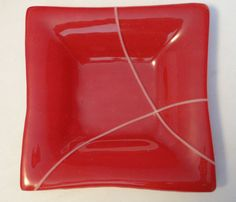 red and white curve fused glass candy bowl/ salad by kilnwork, $28.00