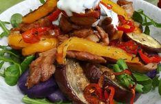 Salade de Légumes Rôtis et Émincé de Dinde caramélisé~Sauce Yaourt Gingembre