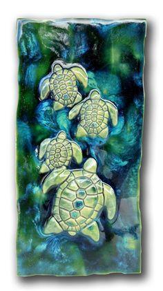 """Kitchen Plaque Turtles Green Design 8.5""""x17.5"""" MP04"""