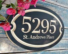 Classic House Number Engraved Plaque by WoodDesigners on Etsy