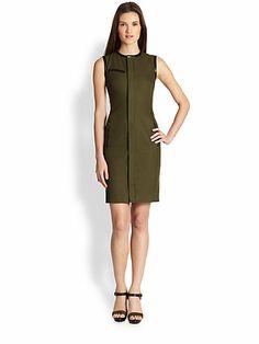 Ralph Lauren Black Label - Leather-Trimmed Beckett Dress - Saks.com