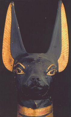 Portable Anubis shrine found in the tomb of Tutankhamun (detail) ca. 1332 to 1323 B.C.E Ancient Artifacts, Ancient Egypt, Ancient History, Art History, Art Alevel, Fu Dog, Egyptian Art, Egyptian Anubis, Egyptian Makeup