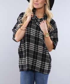 Look what I found on #zulily! Black Plaid Cowl Neck Poncho #zulilyfinds