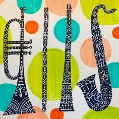 Music theme today! #sketchbook #instruments #illustration# art #artweinspire #trumper #flute #clarinet #saxaphone #linework #polkadots