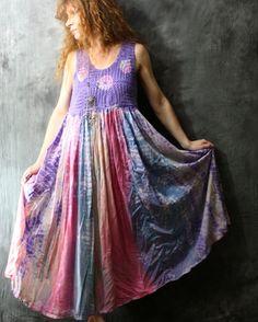 Vintage 1970s Cotton Candy Hippie Mama Crochet Bodice Tie Dye Full Cotton Skirt.